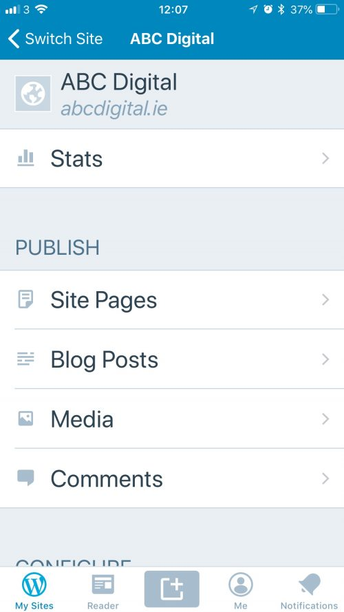 Wordpress Mobile Dashboard