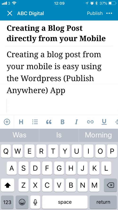 Mobile to Wordpress